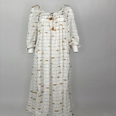 VINTAGE PRAIRIE DRESS YELLOW SAILING BOATS