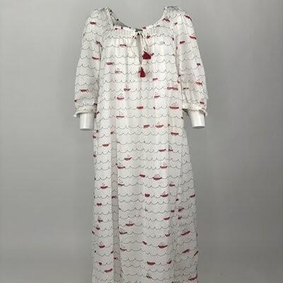 VINTAGE PRAIRIE DRESS RED SAILING BOATS