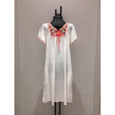 SHORT DRESS MULTICOLOR EMBROIDERY
