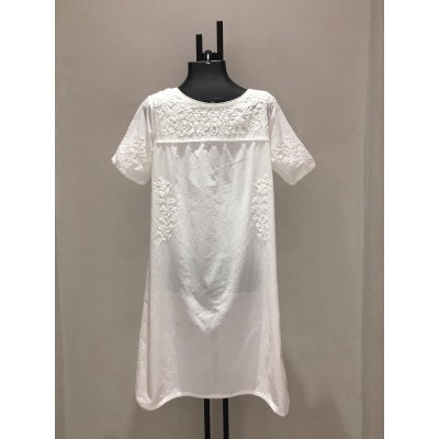SHORT DRESS WHITE EMBROIDERY