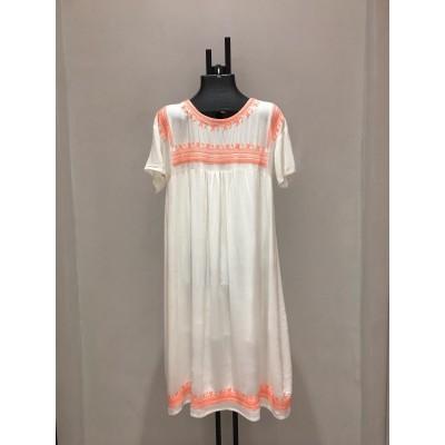SHORT DRESS ORANGE EMBROIDERY