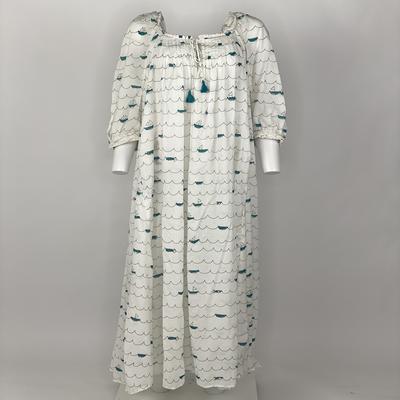 VINTAGE PRAIRIE DRESS BLUE SAILING BOATS
